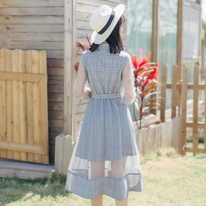 Beige/Grey Blue Grid Fairy Midi Dress SP1812264