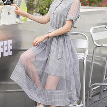 Load image into Gallery viewer, Beige/Grey Blue Grid Fairy Midi Dress SP1812264