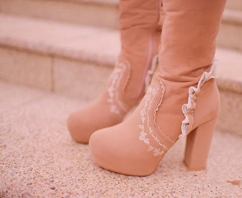 Beige/Light Tan Sweet Bowknot Rough Heels Long Boots SP154417 - SpreePicky  - 6