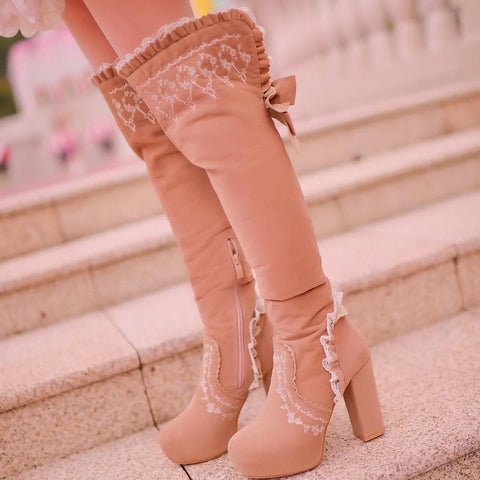 Beige/Light Tan Sweet Bowknot Rough Heels Long Boots SP154417 - SpreePicky  - 9