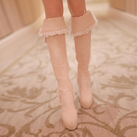 Beige/Light Tan Sweet Bowknot Rough Heels Long Boots SP154417 - SpreePicky  - 10