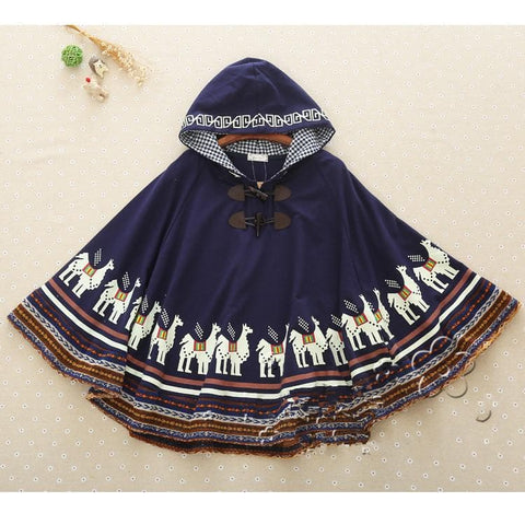 Beige/Navy Mori Girl Little Horses Hoodie Cape Coat SP154319 - SpreePicky  - 8