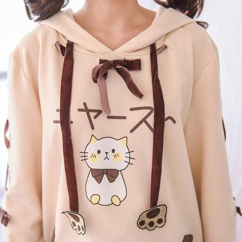 Beige Brown Kawaii Cat Paw Two Pieces Set SP167985