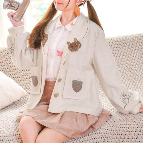 Beige Kawaii Acorn Squirrel Coat SP1811981