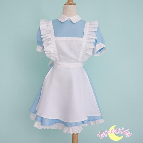 [S-XL] Better Version [Alice In Wonderland] Blue Maid Dress With Apron and Hair Bow SP151638 - SpreePicky  - 3