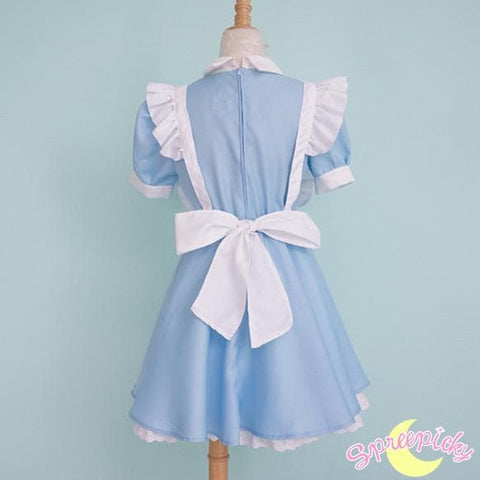 [S-XL] Better Version [Alice In Wonderland] Blue Maid Dress With Apron and Hair Bow SP151638 - SpreePicky  - 5