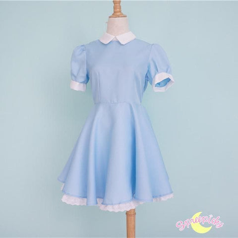 [S-XL] Better Version [Alice In Wonderland] Blue Maid Dress With Apron and Hair Bow SP151638 - SpreePicky  - 4