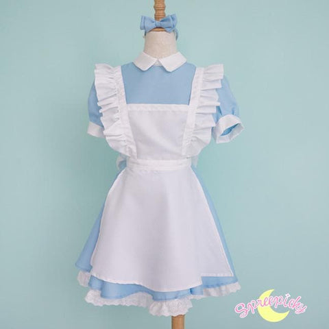 [S-XL] Better Version [Alice In Wonderland] Blue Maid Dress With Apron and Hair Bow SP151638 - SpreePicky  - 2