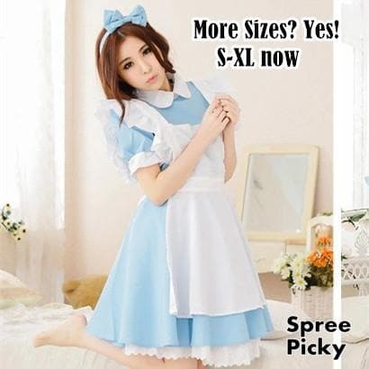 [S-XL] Better Version [Alice In Wonderland] Blue Maid Dress With Apron and Hair Bow SP151638 - SpreePicky  - 1