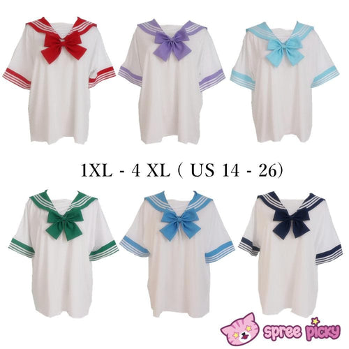[10 Colors] XS-4XL J-fashion Stretch Sailor Seifuku Uniform Top Only SP151671 - SpreePicky  - 1