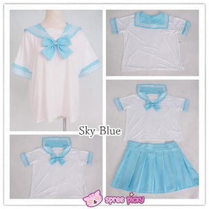 [10 Colors] XS-4XL J-fashion Stretch Sailor Seifuku Uniform Top Only SP151671 - SpreePicky  - 2