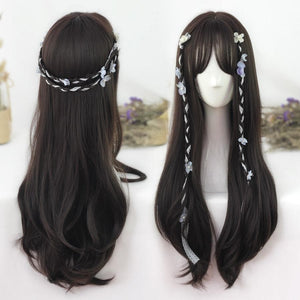 Black-brown Natural Long Curly Wig SP178707
