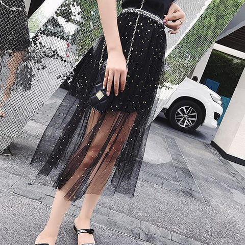 Black/Apricot Blingbling Starry Night Skirt SP1710030