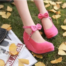 Load image into Gallery viewer, Black/Beige/Pink Sweet Bow Wedge Shoes SP179291