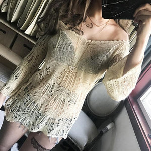 Black/Beige Crochet Knit V-Neck Sweater SP179411