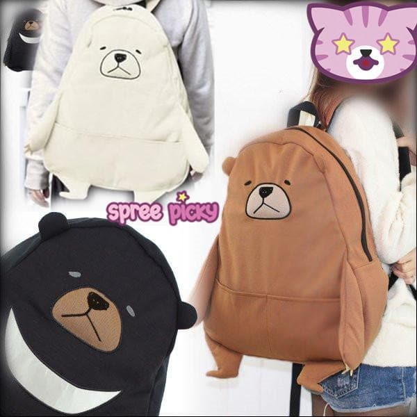 Black/Beige Kawaii Bear backpack SP167038