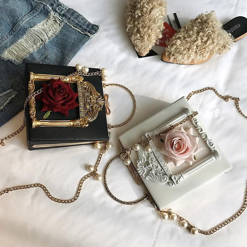 Free Shipping [Hand Made] Barocco Style Chic Vintage Rose Bag SP1812092