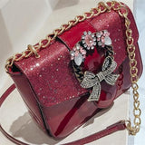Black/Brown/Red Vintage Bow Cross Body Bag SP1812098
