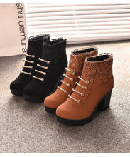 Load image into Gallery viewer, Black/Brown Warming High Heel Boots SP178628