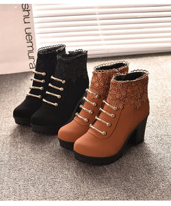 Black/Brown Warming High Heel Boots SP178628