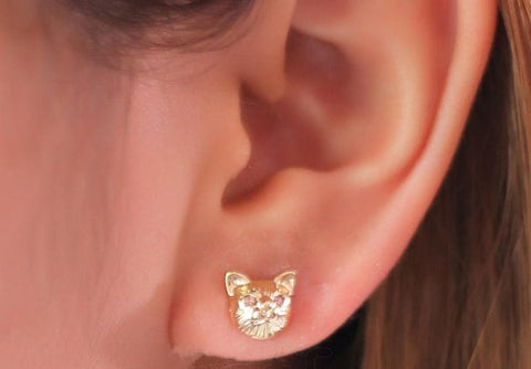 Black/Gold/Silver Cutie Cat Earrings SP153287 - SpreePicky  - 4