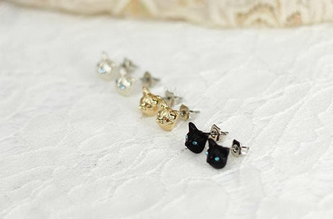 Black/Gold/Silver Cutie Cat Earrings SP153287 - SpreePicky  - 8