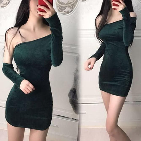 Black/Green Elegant Sexy Velvet Dress SP1811947