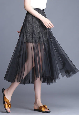 Black/Grey/Beige Sweet Shining Tulle Skirt SP1812553