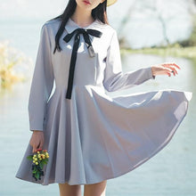 Load image into Gallery viewer, Black/Grey Preppy Style Polo Collar Bow Dress SP179056