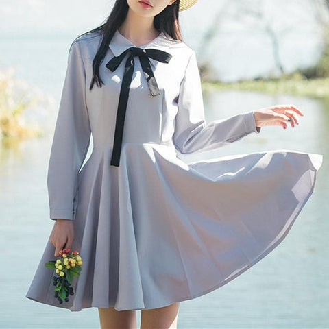 Black/Grey Preppy Style Polo Collar Bow Dress SP179056