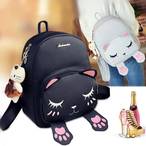 Black/Light Grey Kawaii Little Cat Backpack SP168149