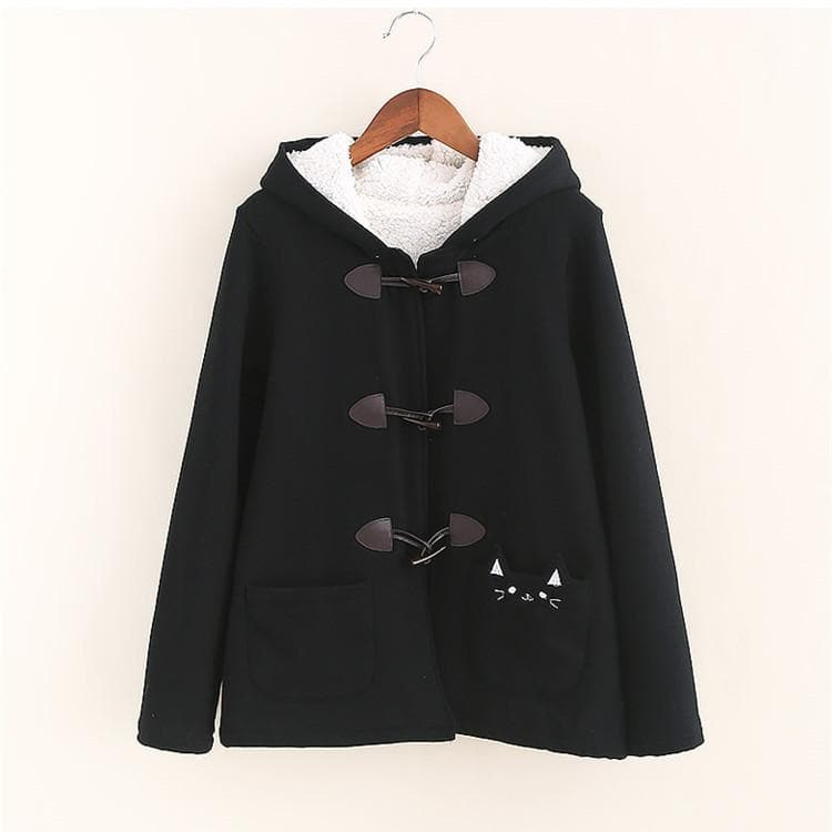 Black/Pink/Khaki Kawaii Cat Ears Warming Hoodie Coat SP168312