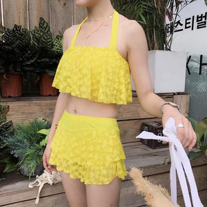 Black/Pink/Yellow Sweet Heart Lace Two-Piece Swimsuit SP1710369
