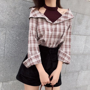 BlackPink Chic Grid Off-Shoulder Shirt SP1811907
