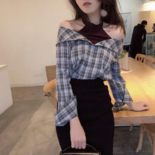 Load image into Gallery viewer, BlackPink Chic Grid Off-Shoulder Shirt SP1811907