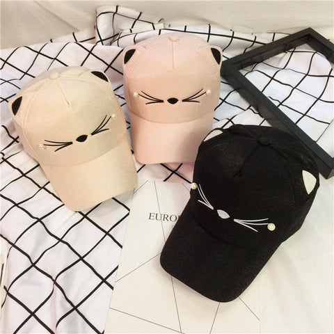 Black/Pink Kawaii Cat Baseball Cap SP168471