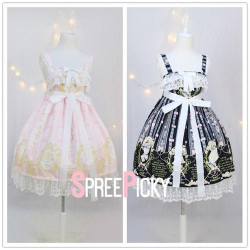 Black/Pink Kawaii Lolita Princess Suspender Dress SP179484