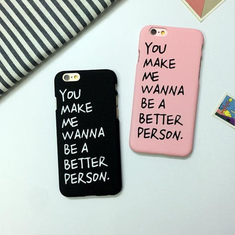 Black/Pink Letter Printing Phone Case SP166682
