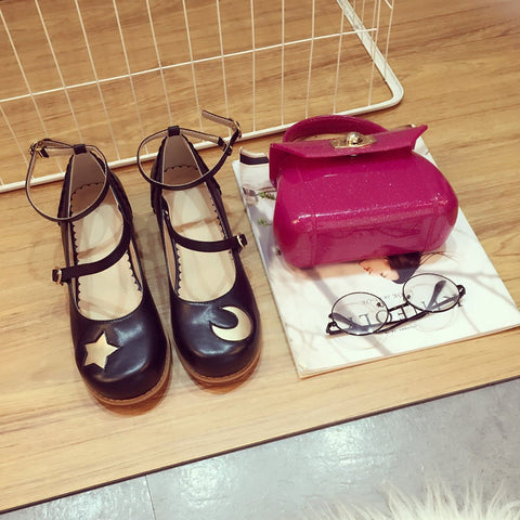 Black/Pink Lolita Moon and Star Shoes SP167572