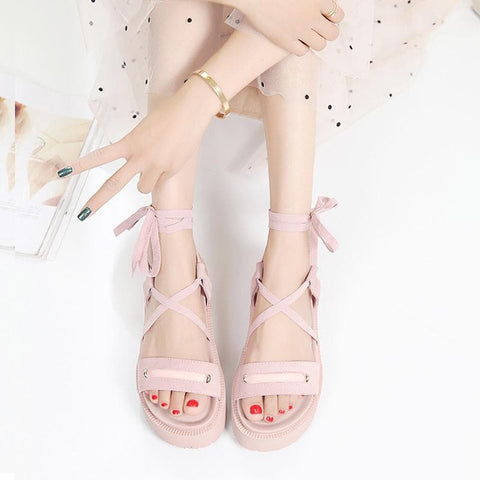Black/Pink Sweet Cross Bow Straps Sandals SP179987