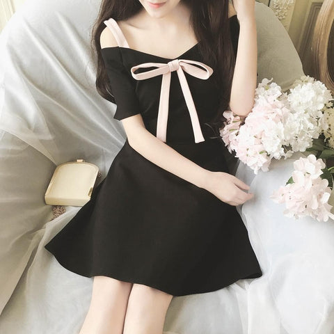 Black/Pink Sweet Off-Shoulder Bowknot Dress SP179304