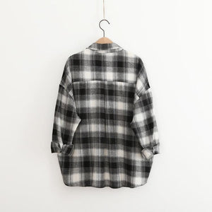 Black/Red/Green Oversized Leisure Plaid Shirt SP178818