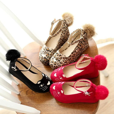 Black/Red/Leopard Print Lolita Kitty Shoes SP164824 - SpreePicky  - 5