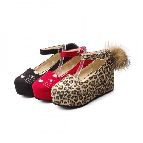 Black/Red/Leopard Print Lolita Kitty Shoes SP164824 - SpreePicky  - 6