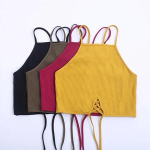 Black/Red/Yello/Brown Sweet Strap Wrapped Crop Top SP1710456