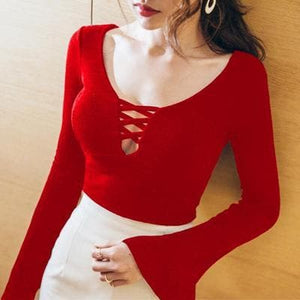 Black/Red Bandage Long Sleeves Shirt SP1811778