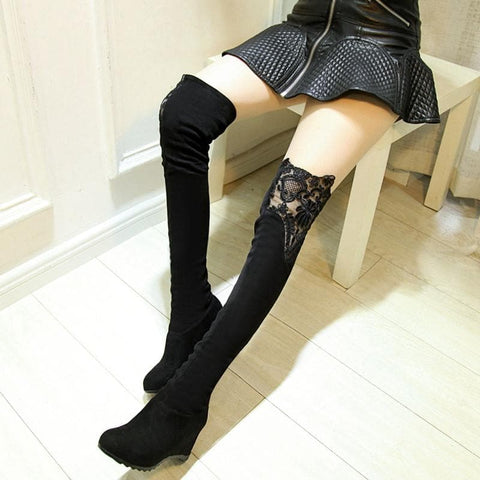 Black/Red Over Knee Lace High Boots SP168180