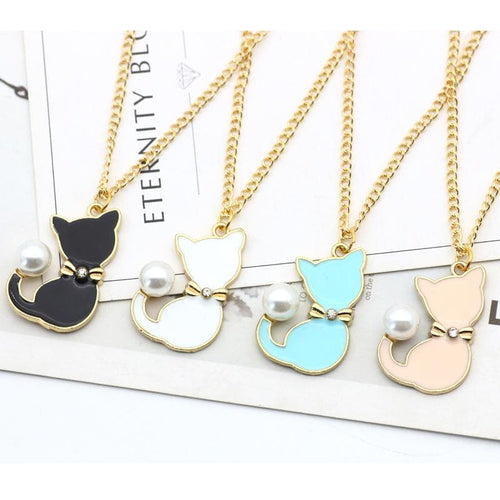 Black/White/Blue/Pink Kawaii Pearl Cat Necklace SP1812323