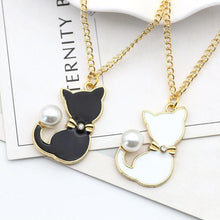 Load image into Gallery viewer, Black/White/Blue/Pink Kawaii Pearl Cat Necklace SP1812323