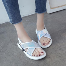 Load image into Gallery viewer, Black/White/Blue Sweet Shining Sandals SP1812493